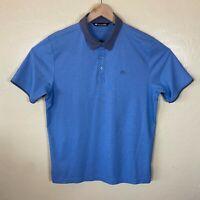 Travis Mathew Polo Golf Shirt Mens Large Blue Gray Short Sleeve Golfer Collared