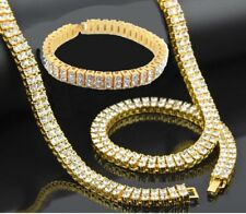Mens Iced Out Crystal Tennis Chain Bracelet Set Gold Hip Hop Bling Rap Trap Star
