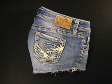 Silver LOLA CUTOFF JEANS SHORTS Cut Off W 28 Hot Pants Daisy Duke Low Rise