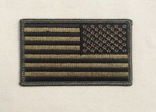 Reverse American Flag Patch Velcr OD Green Hook Style Backing USA