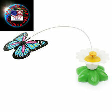Electric Rotating Butterfly Kitten Cat Pet Toys cat teaser Toys F/S New