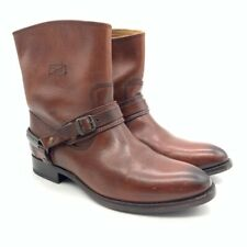 Frye Womens Motorcycle Harness Boots Brown Leather Low Cuban Heel Pull On 6.5 B