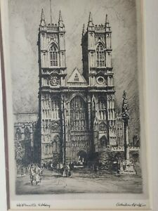 Antique Adrian Hill 19th C Lithographic Print Westminster Abbey of Edward Wesson