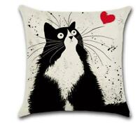 "LOVE CAT 😺 Heavy Linen CUSHION COVER 😺 18""x18"" (45cm) 🍁CANADIAN SELLER🍁"