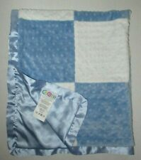 New listing Cocalo Baby Blue White Patchwork Blanket Minky Dot Squares Satin Security Lovey