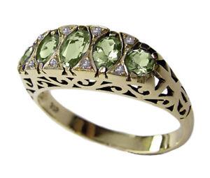 R307 Genuine 9ct 9K, 10K, 18K Solid Gold Natural Peridot & Diamond Eternity Ring