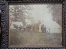 EARLY SURVEY CREW ALBUMEN PRINT PHOTOGRAPH CIRCA 1890 RARE IN CAMP IMAGE HISTORY