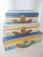 3 Nesting Decorative Nautical Suitcase Cardboard Hinged Storage Boxes Happy