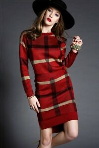 Plaid tartan knitted knit red blue green skirt jacket sweater suit set outfit 2