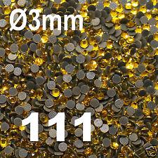 iron-on 250 Strass thermocollant RHINESTONE hotfix Ø 3 mm ss10 JAUNE N° 111