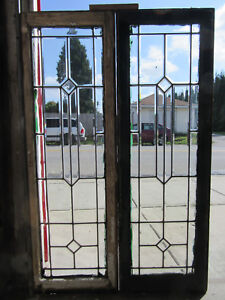 ~ PAIR ANTIQUE FULL BEVELED LEADED GLASS SIDELITES ~ 18 X 55 EACH ~ SALVAGE ~