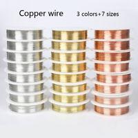 1 Roll 0.2-1mm Copper Wire Jewelry Making 20 Gauge Craft DIY Gold Sliver