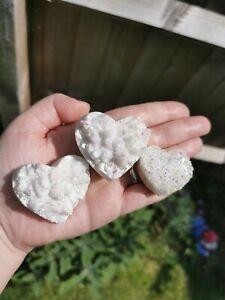 Angel Aura Quartz Cluster Hearts Crystal Carving Healing UK Seller