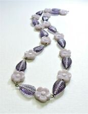 Vintage Purple Flowers and Leaves Lampwork Art Glass Bead Necklace Ap20Bn66