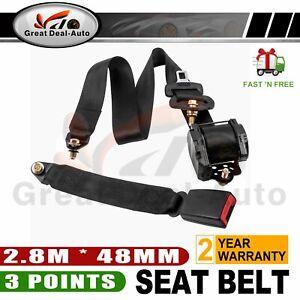 Black Universal 3 Point Retractable AUTO Car Seat Lap Adjustable Belt Set
