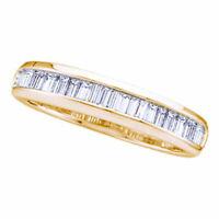 14k Yellow Gold Womens Baguette Diamond Wedding Anniversary Band Ring 1/6 Cttw