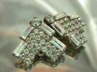 Sparkling Showy Vintage 1960's Baguette Prong Rhinestone Clip On Earrings 780o9