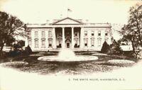 The White House Sepia Front Fountain View 1900's 1905 Washington DC Postcard