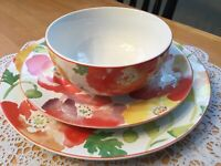 "222 fifth ""Jolly Poppy"" Dinnerware ~ Service for 4 ~ 12 Pieces"