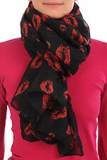 Black With Red Lips Unisex Scarf and Beach Sarong (SF000702)