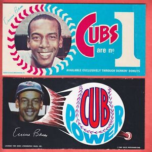 1969 + 1970  CHICAGO CUBS  ERNIE BANKS  DUNKIN DONUTS  BUMPER STICKERS