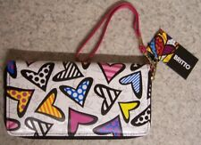 Romero Britto Wristlet Clutch Wallet 3 sided zipper large Hearts NEW with strap