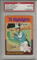 1975 TOPPS # 1 HANK AARON, PSA 9 MINT, HIGHLIGHTS, HOF, ATLANTA BRAVES, L@@K !