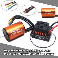 Waterproof 3650 4300KV Brushless Motor 60A ESC Combo Set for 1/10 RC Car W9M5 US