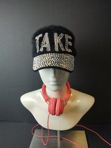 Women's Blinged Out Black Adjustable Fur Hat. #1100