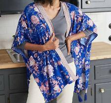 Women's Knox Rose Floral Print Long Sleeve Kimono Blue Sapphire Xl/xxl 1020