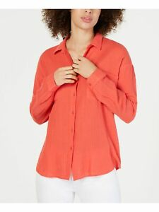 EILEEN FISHER Womens Coral Pocketed Long Sleeve Collared Button Up Top Size: XS