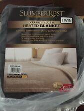 Velvet Plush Heated Blanket Machine Washable & Dryer Safe, Twin Size, Slate
