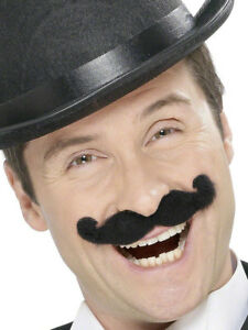 Black Old Fashioned Gentleman Moustache Music Hall Mens Fancy Dress