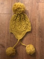 Anthropologie Womens Wool Knitted Bobble Pom Pom Hat Mustard Yellow