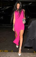 NWT Helmut Lang Faint High Slit Cut Out Dress FUCHSIA Seen on Rihanna L