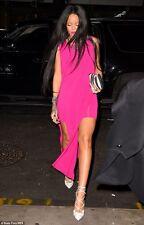 NWT Helmut Lang Faint High Slit Cut Out Dress FUCHSIA Seen on Rihanna L