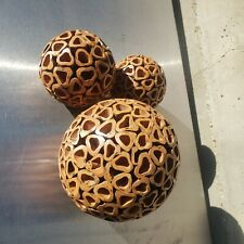 Lot of 3 unusual carved wood decorative balls, vintage