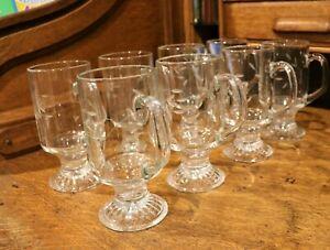 8 PRINCESS HOUSE  HERITAGE TEMPERED CRYSTAL GLASSES HOT/COLD MUGS/LATTE VINTAGE