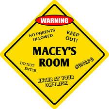 """*Aluminum* Macey's Room Kids Room Door 12""""x12""""  Metal Novelty Sign"""