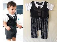 Baby Boy Formal Tuxedo One-Piece Romper Tie Suit Short sleeve SIZE 00/0 3-12 mos
