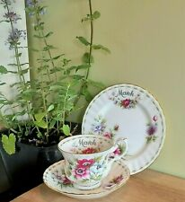 More details for royal albert anemones flower month march cup saucer trio