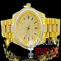 Mens Solid Stainless Steel Yellow Gold Jojino Joe Rodeo Simulated Diamond Watch