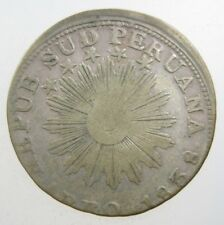 Peru 2 Reales 1838 Silver Scarce #i Areq South Peruana Lima Money World Coin