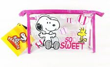 Clear Novelty PVC Kids Toiletry Snoopy Sleep Over Case Bag School Pencil Cases