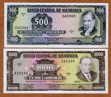 SET Nicaragua, 500;1000 cordobas, 1972, P-127-128a, C-Serie, UNC