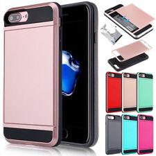 For iPhone 8 7 Plus Shockproof Wallet Credit Card Holder Hybrid Hard Case Cover
