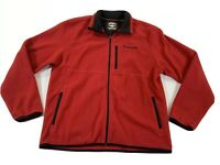 Timberland Mens Red Black Full Zip Fleece Jacket Sz Lg