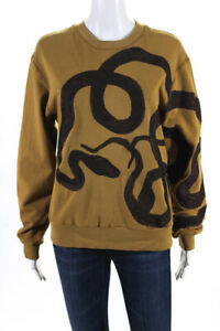 Dries Van Noten Womens Cotton Knit Snake Embroidered Pullover Top Gold Size S
