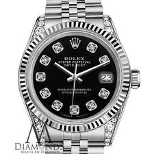Ladies Rolex 26mm Datejust Black Color Dial with Diamonds Watch
