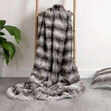 Luxury Faux Fur Throw - Large 150cm x 125cm Super Soft BAVARIAN WOLF GREY